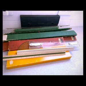 Vintage Drafting Rulers, Tools and Boxes